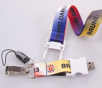 Hot selling custom usb flash drive neck lanyard for promotion gift