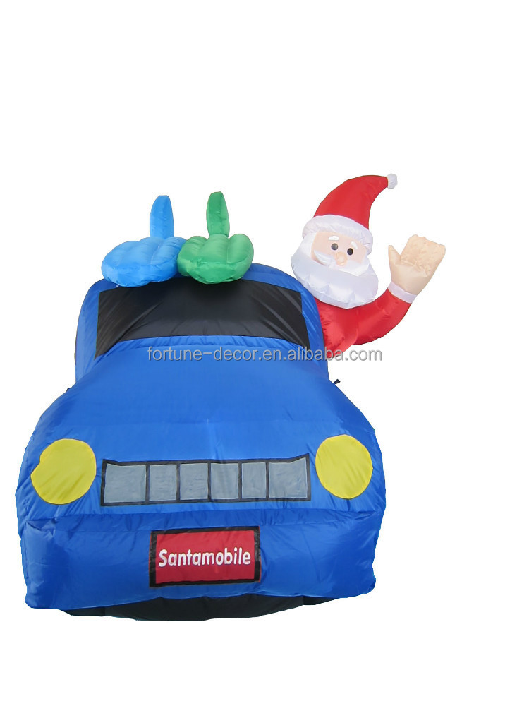 180cm high polyester inflatable Christmas santa claus and mini cooper car