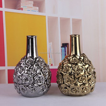 wholesale modern ceramic emboss silver plated vase with flowers