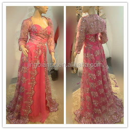 real sample long sleeves arabic popular crystal islamic evening dress #OE19