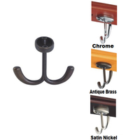 Double metal hanging ceiling mounted coat hooks