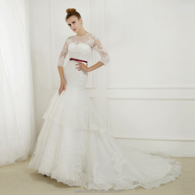 EBX-129 Round neckline 3/4 sleeve lace Two layer skirt wedding gown