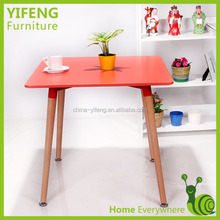 Rectangle MDF Top Wood Legs Dining Table(factory manufacturer)