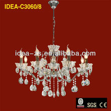 iron wire pendant ceiling light crystal chrome chandelier crystal C3060-8