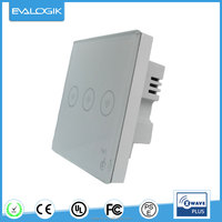 Z-wave glass panel touch light 3 gang switch (ZW243)