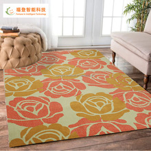 Red flower rug rectangular cut pile wool blend area rugs