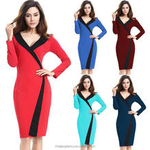 New Plus Size V Neck Long Sleeve Ladies Western Office Wear Fashion Dress 2017 Design