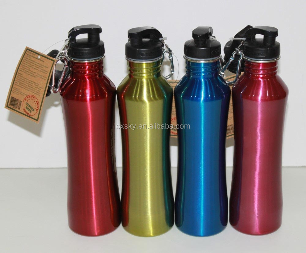 curvy stainless steel sports water bottle with carabiner reusable water bottles