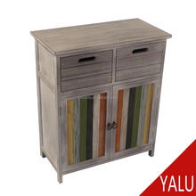 Solid Wood Drawing Furniture Antique Wooden Chest Painted Console Cabinet For Living Room antique cabinet H-16035
