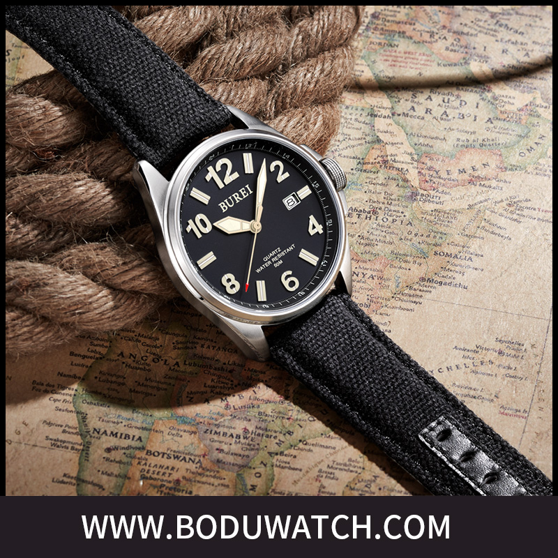 50M water resistant quartz watch with japanese movement and canvas strap