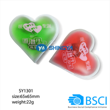 cheap environmental material instant heat pack, hand warmer, heart shape gel heat pad