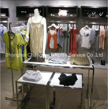 Mirror SS mdf display desk shop display gondola for clothing , clothes rack gondola and table design