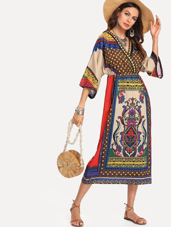 print traditional long african dress for women