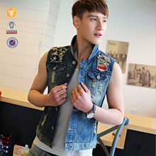 Denim manufacturer oem customize new fashion ripped boys denim vest