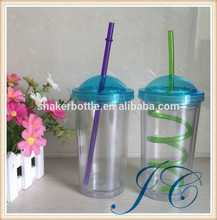 reusable 450ml single wall plastic straw cup with dome lid