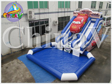 large outdoor dual lane car inflatable slide,inflatable water slide with pool