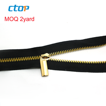 guangzhou factory wholesale decorative light gold open end brass zipper long chain bags metal zipper