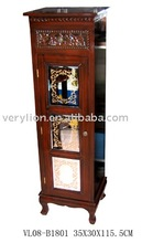 Wooden Cabinet w/Carved Patterns and mirror doors in antique red finish