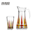 colorful 7pcs glass drinkware eco-friendly drinking water jug set