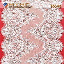 Wholesale Eyelash Plain Yarn Lace in 100% Nylon Lace Material For Neck T6544