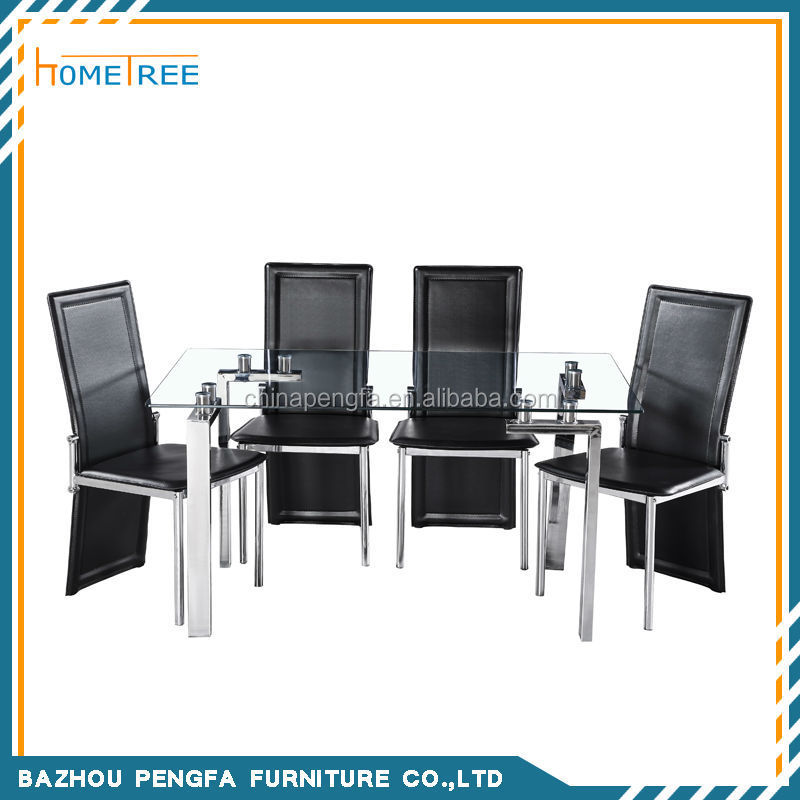 10mm tempered glass dining table and chair