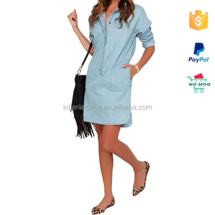 Alibaba Top Selling Light Blue One Piece Jeans Dress For Girls