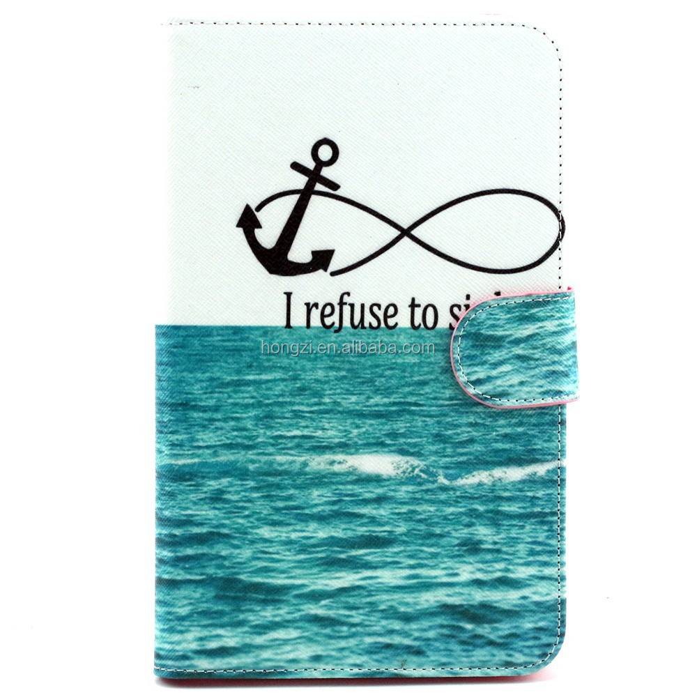 For GALAXY Tab 3 Lite T110 Anchor Pattern Flip Smart Stand Leather Case For Samsung Luxury Folding Cover Case Pouch
