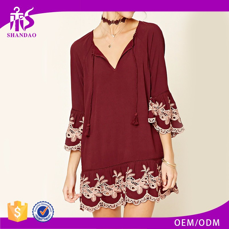 2017 China Factory Wholesale Customized Elegant Rayon V Neck One Piece Women Embroidery resses