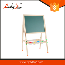 Multicolored Fun Wood Pencil Design Free Standing A-Frame 2-in-1 Children's Whiteboard Easel / Kids Black Chalkboard