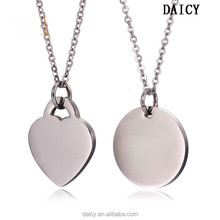 DAICY cheap wholesale engraving stainless steel heart charms silver necklace