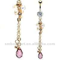 Hot Sale Style Iridescent Synthetic Pearl Drop Belly Ring Body Piercing Jewelry-SMBR201