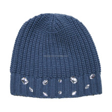 winter wool knitted beanie hat with sequins