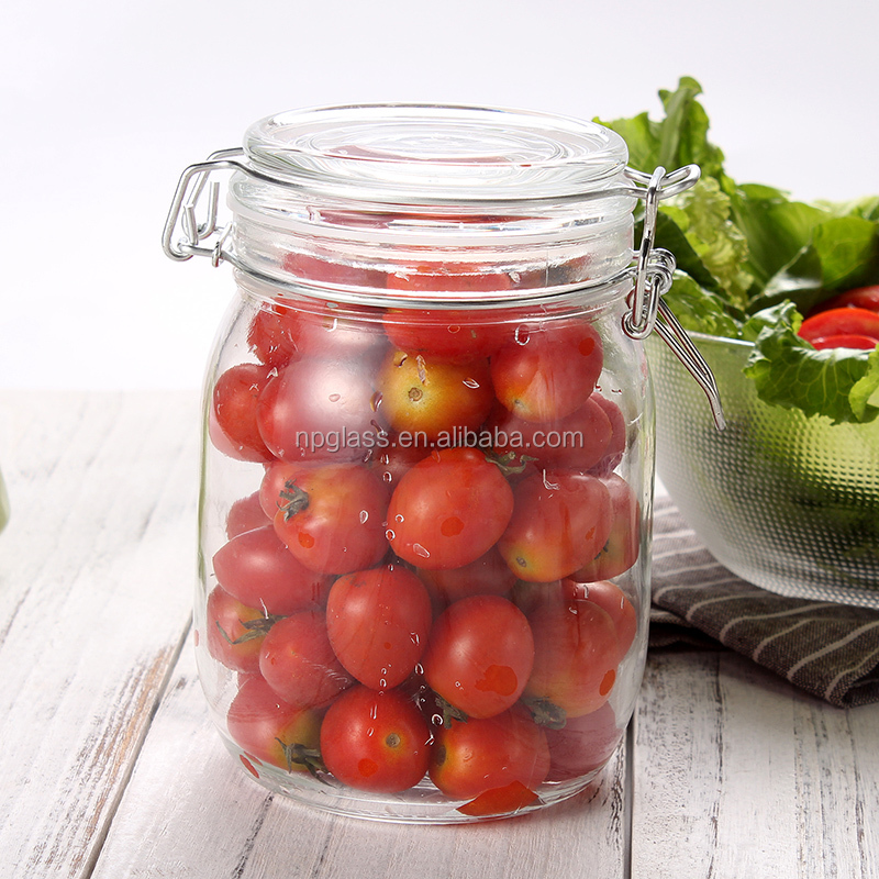 airtight storage glass jar with clip top