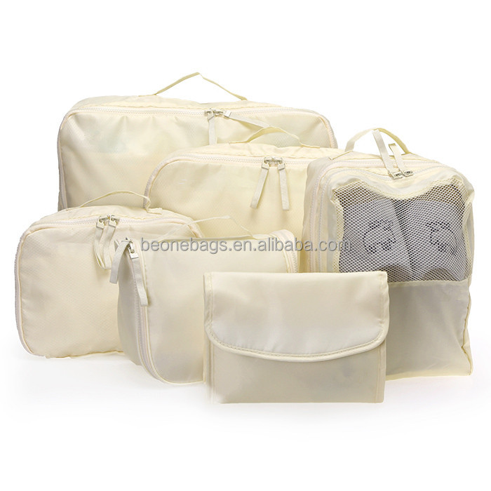 Oem nylon luggage set compression packing cubes 6pcs