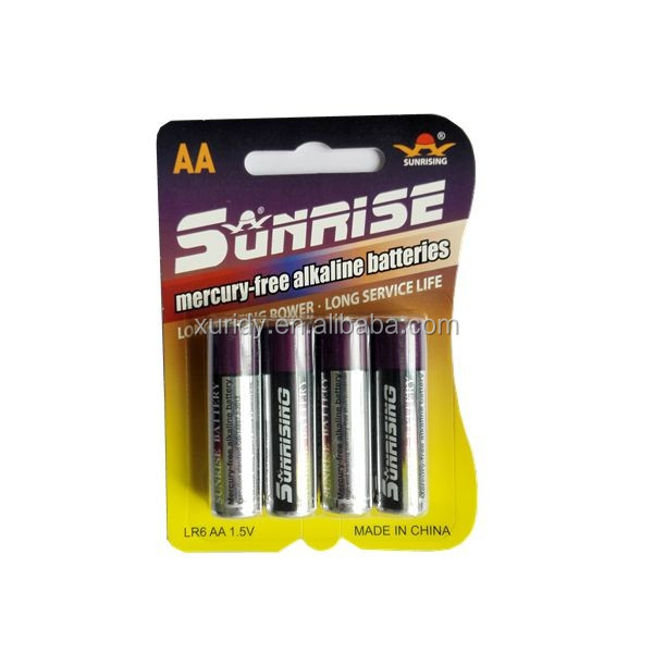 lr6 1.5v AA Alkaline battery 4 pcs/blister card
