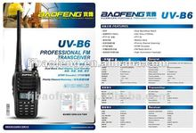 New product for 2013 baofeng uv b6 uhf vhf dual band ham in ear fm radio
