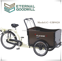 Hight quality three wheel cargo bike/cargo tricycle/reverse trike UB9028 with wooden box for sale