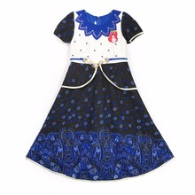 885-3 Blue Yiwu Haolaiyuan Good quality flower fancy girls birthday dresses