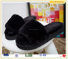 Open toe coral fleece plush warm house floor slippers