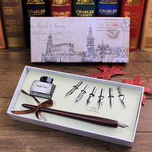 Promotional Gifts Wooden Carton Quill pen Set For Business and Students