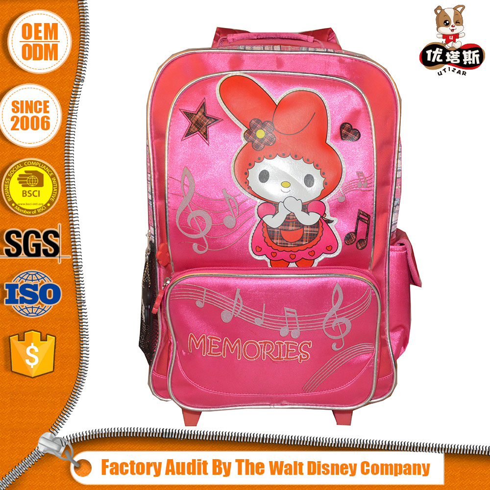 Simple Style Best Quality Oem Design Cartoon Kids School Trolley Bag