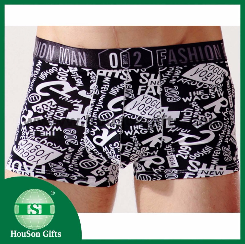 HSMU049 White wording man boxer short customized logo elastic wholesale
