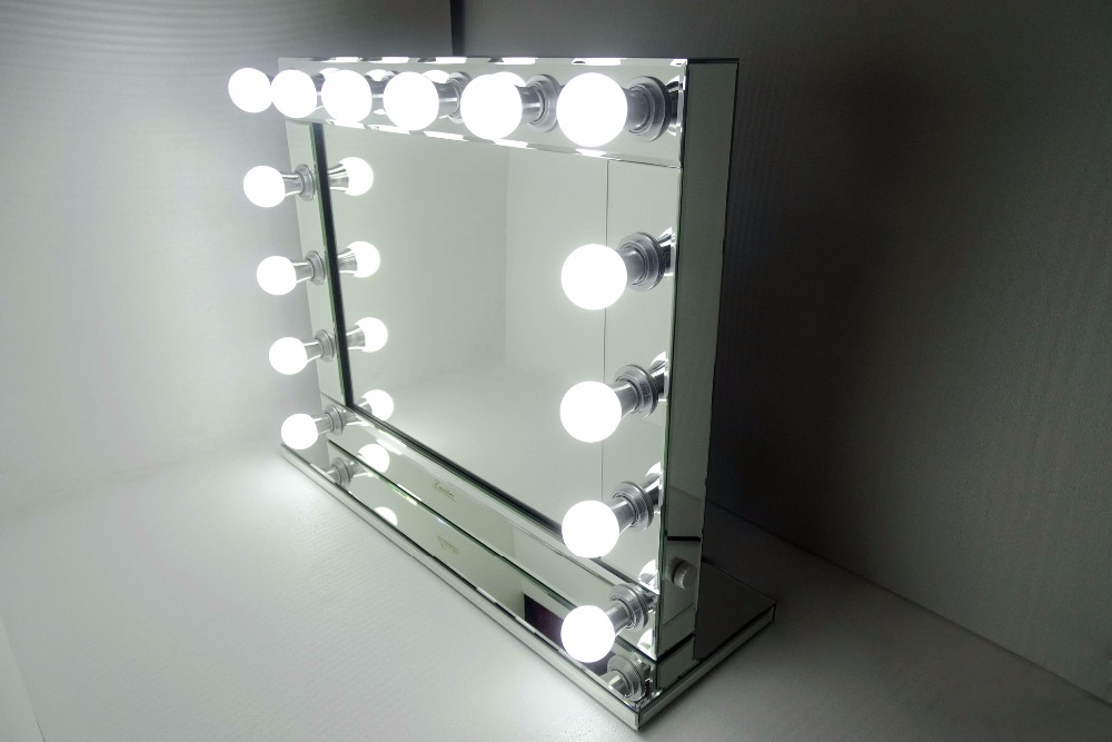 Hollywood lighted vanity mirror w side outlet buy for Where to find mirrors