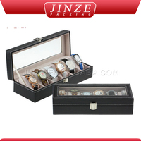 Luxury cheap wholesale men's leather watch box ,custom multiple unique wooden watch packaging box
