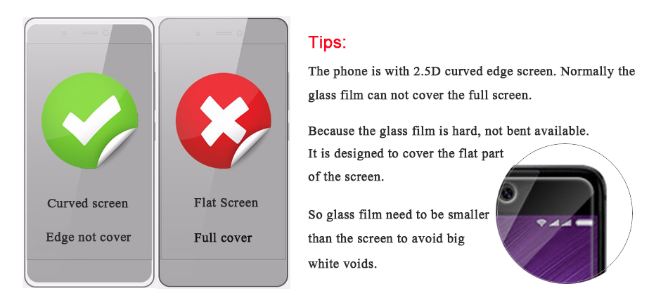 Glass film is smaller than the screen