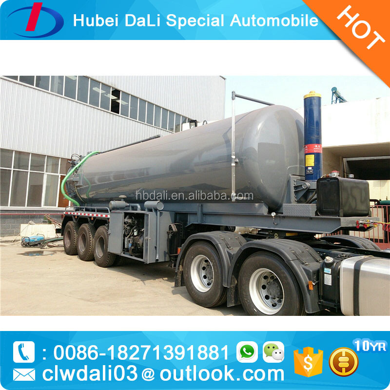 High Quality 6 wheeler sewage suction semi trailer manufacturer