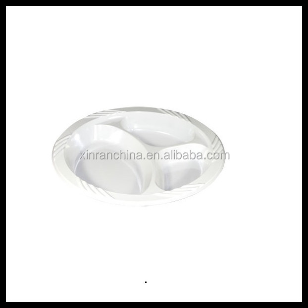 Eco-friendly 3 compartment disposable plastic plate