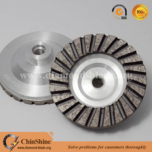 100mm Flat turbo aluminium diamond grinding cup wheel for precision grinding of natural stone