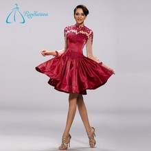 Jewel Knee-Length Burgundy Fashionable Free Prom Dress