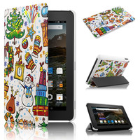 Christmas style case for Kindle New Fire 7 Ultra Slim PU Leather Magnetic Case for Christmas gift